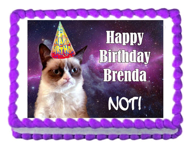 Grumpy Cat in Space Edible Cake Image Cake Topper - Cakes For Cures