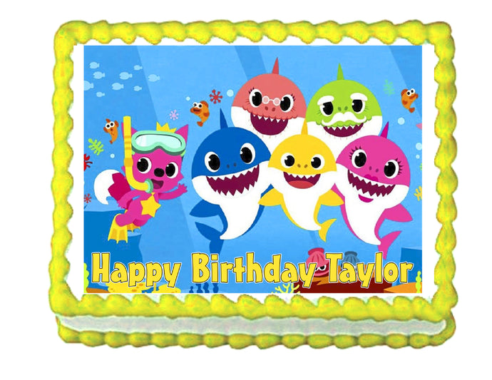 Baby Shark edible cake image party decoration frosting topper - Cakes For Cures