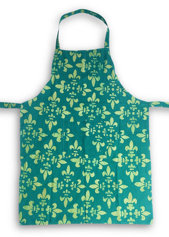 Apron - Green Fleur-de-Lis Organic Cotton - Global Mamas (A)