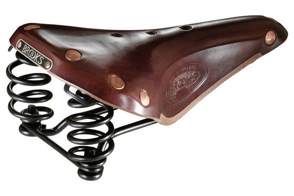 Brooks Flyer Men's Saddle Special Brown with black steel rails and springs