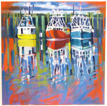 Load image into Gallery viewer, Autumn Fleet, oil on canvas painting of harbor in Digby, NS. Artist Cyndie Widmer