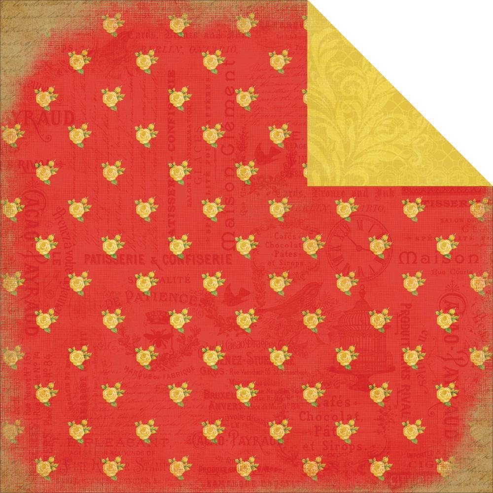 CB paper 30x30 yesterday RED FLORAL CB-YD35005