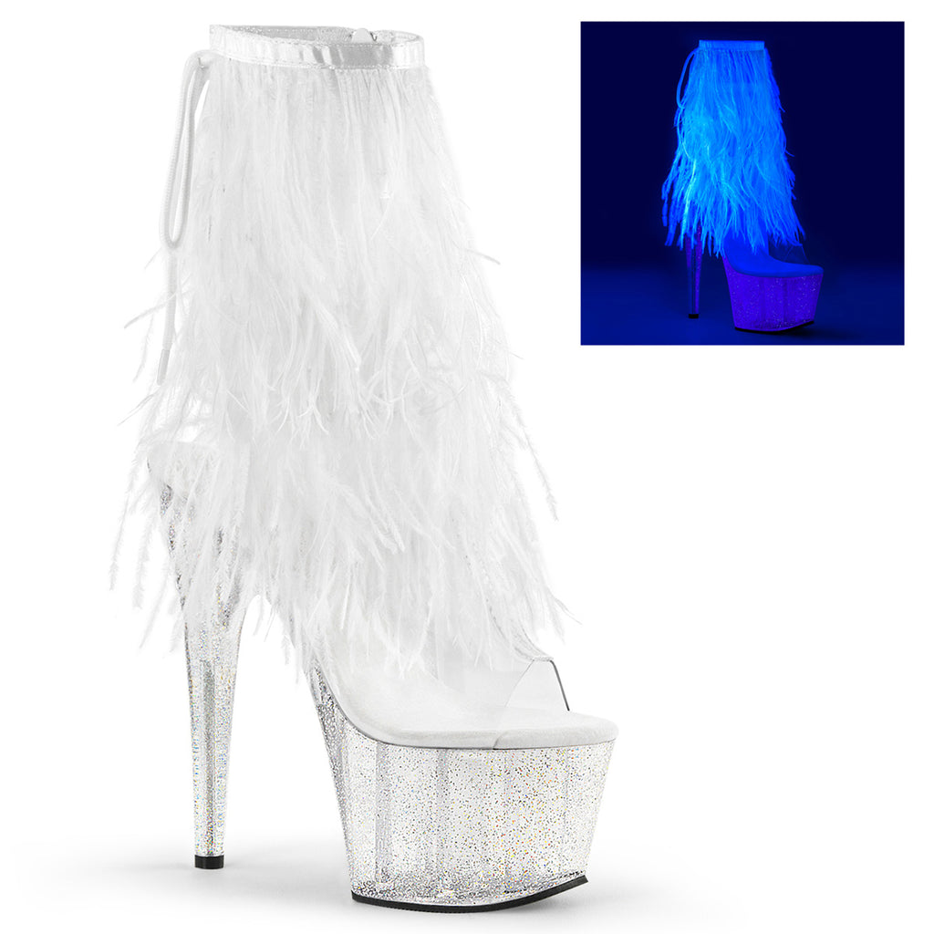 Adore 1017MFF White Marabou Platform Ankle Boot
