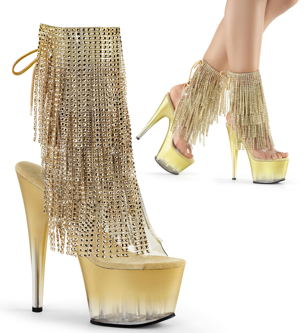 Adore 1017RSFT Gold Rhinestoned Platform Ankle Boot