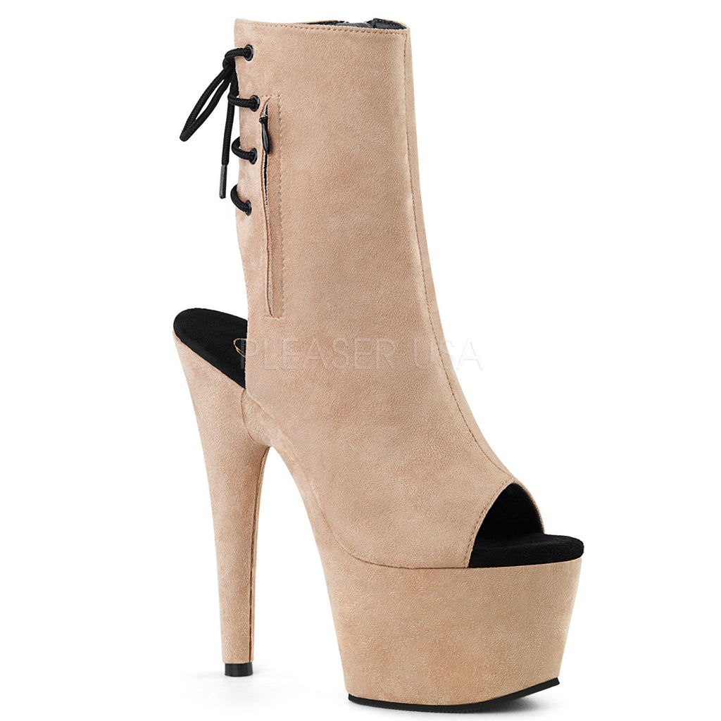 Adore 1018 Beige Faux Suede Peep Toe Ankle Boots