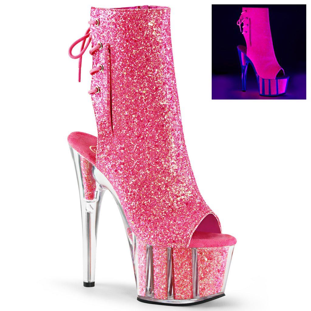 Adore 1018G Neon Pink Sparkly Platform Ankle Boots