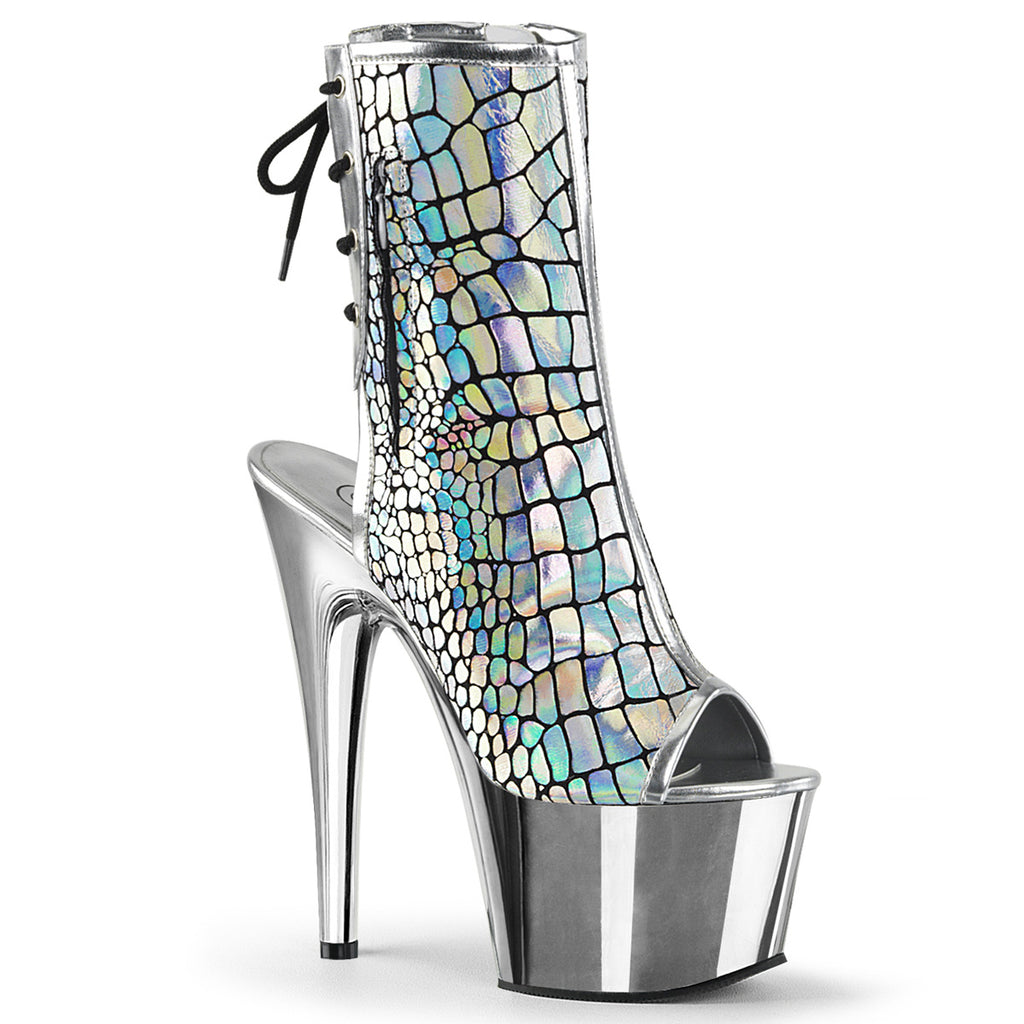 Adore 1018HG Holographic Silver Platform Boots