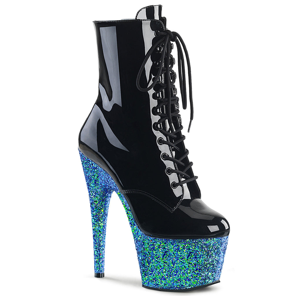 Adore 1020 Black Patent and Blue Glitter Vegan Boots