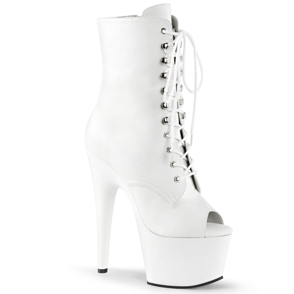 Adore 1021 White Faux Leather Peep Toe Boots