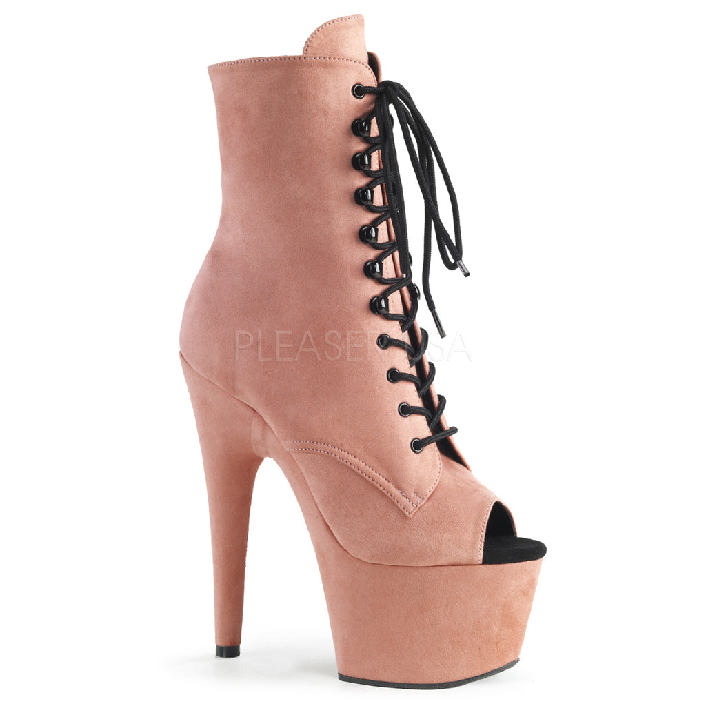 Adore 1021FS Baby Pink Faux Suede Peep Toe Boots