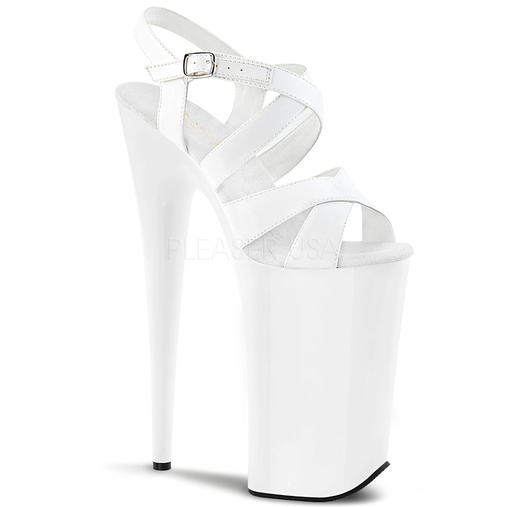 Beyond 097 White Patent Strappy Platforms