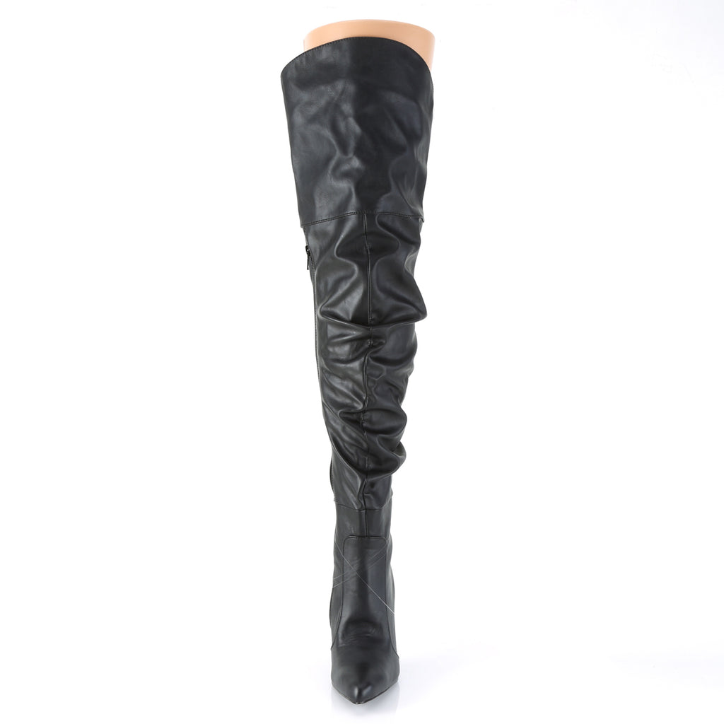 Classique 3011 Black Faux Leather Ruched Thigh High Boots