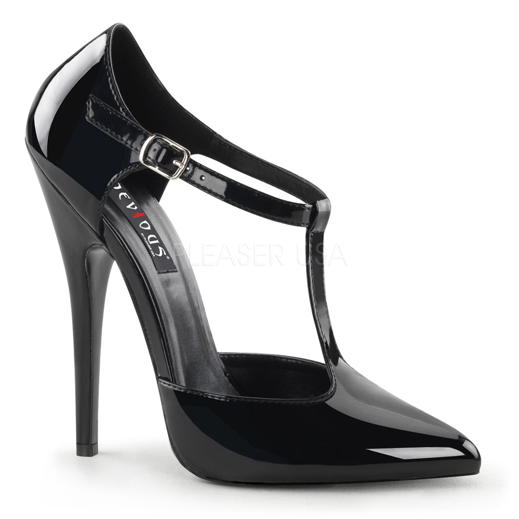 Domina 415 Black Patent T-Bar Heels