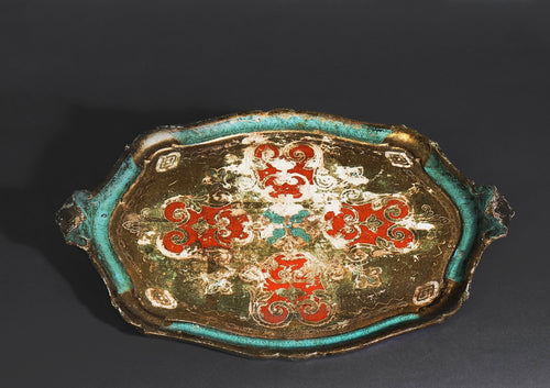 The Tattooist Tarin - Large Oval Green, Red and Gold Papier Mache Platter