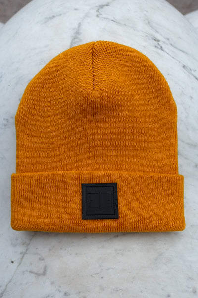 DARK YELLOW PATCH BEANIE