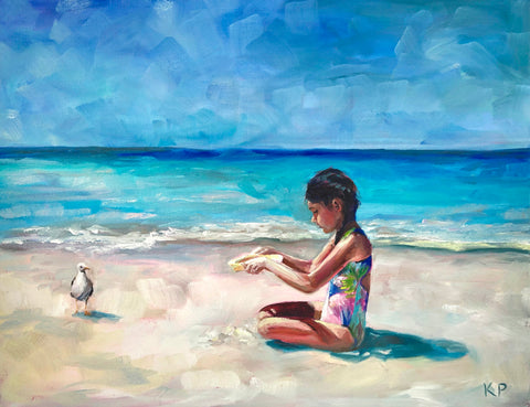 Little Girl Beach Painting