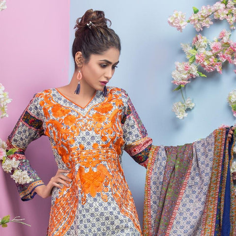 Maya Ali Embroidered Lawn Collection 2018 - (1B) - test-store-for-chase-value