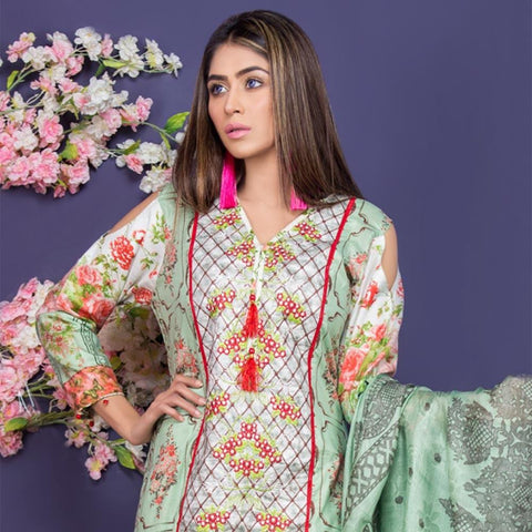 Maya Ali Embroidered Lawn Collection 2018 - (6B) - test-store-for-chase-value