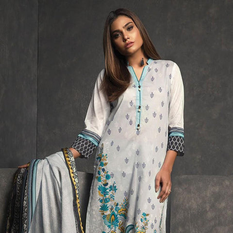 Orient Ethnic Stamp Printed Lawn Suit-B065 - test-store-for-chase-value