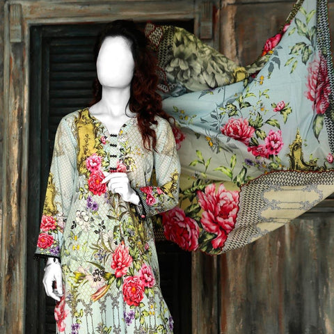 Nur Zara Premium Digital Printed Lawn Suit-CLD101 - test-store-for-chase-value