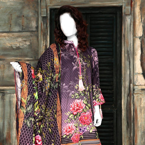 Nur Zara Premium Digital Printed Lawn Suit-CLD103 - test-store-for-chase-value