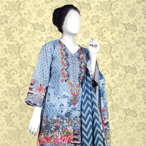 Nur Zara Premium Embroidered Lawn Suit-CLE122 - test-store-for-chase-value