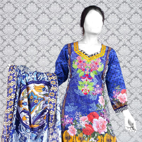 Nur Zara Premium Embroidered Lawn Suit-CLE128 - test-store-for-chase-value