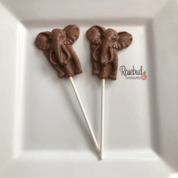 12 ELEPHANT Chocolate Lollipops Candy Birthday Party Favors Animal Jungle Theme