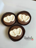 12 TWO HEARTS Chocolate Covered Oreo Cookie Candy Party Favors