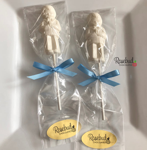 12 PRAYING BOY Chocolate Lollipop Religious Candy Party Favors