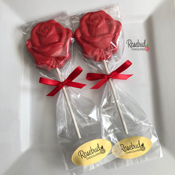 12 ROSE Chocolate Lollipop Candy Party Favors