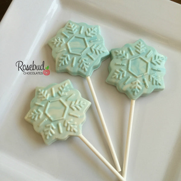 12 SNOWFLAKE Chocolate Lollipop Candy Holiday Birthday Party Favors