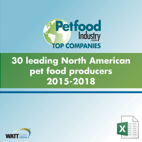 30 leading North American pet food producers 2015-2018