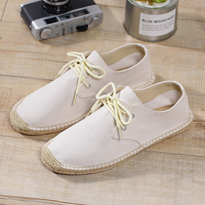 Men Linen Splicing Flat Skateboarding Shoes Lace Up Casual Trainers