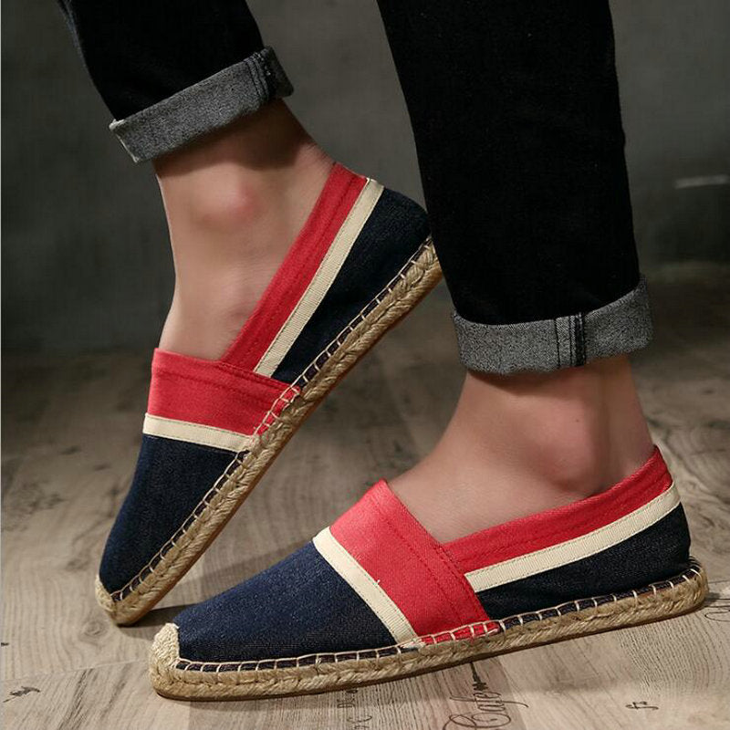 Men Flats Plimsolls Striped Canvas Boys Casual Linen Shoes Men hemp Shoes