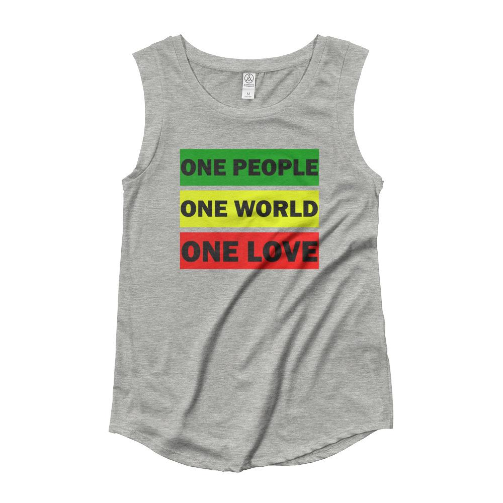 ONE WORLD ONE LOVE | Women's Cap Sleeve Tank EAST OF ALTA Heather Grey S