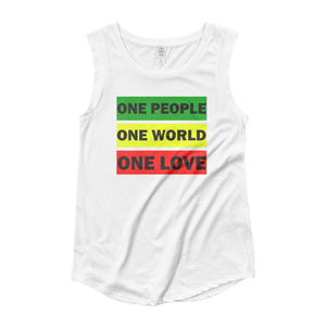 ONE WORLD ONE LOVE | Women's Cap Sleeve Tank EAST OF ALTA White S