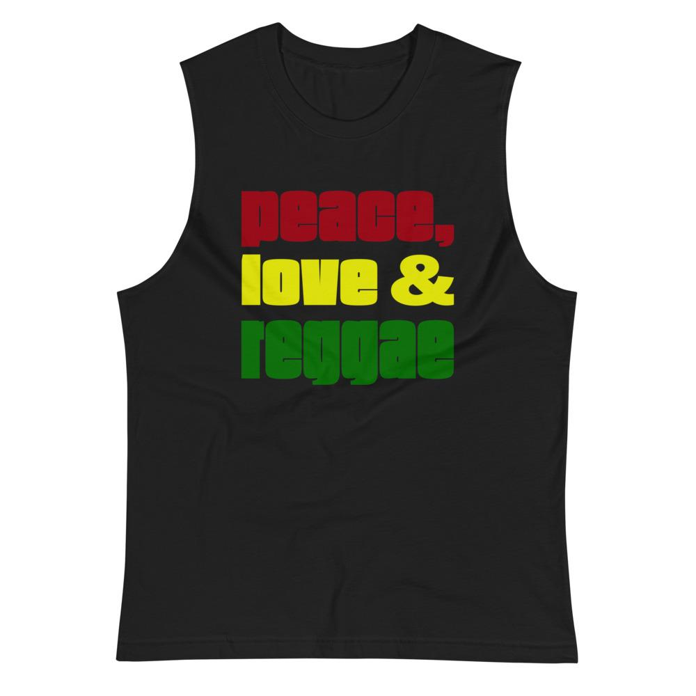 PEACE LOVE REGGAE | Men's Muscle Shirt EAST OF ALTA Black S