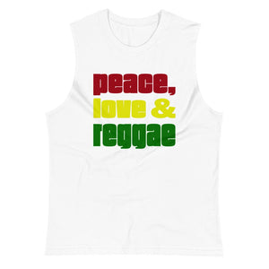 PEACE LOVE REGGAE | Men's Muscle Shirt EAST OF ALTA White S