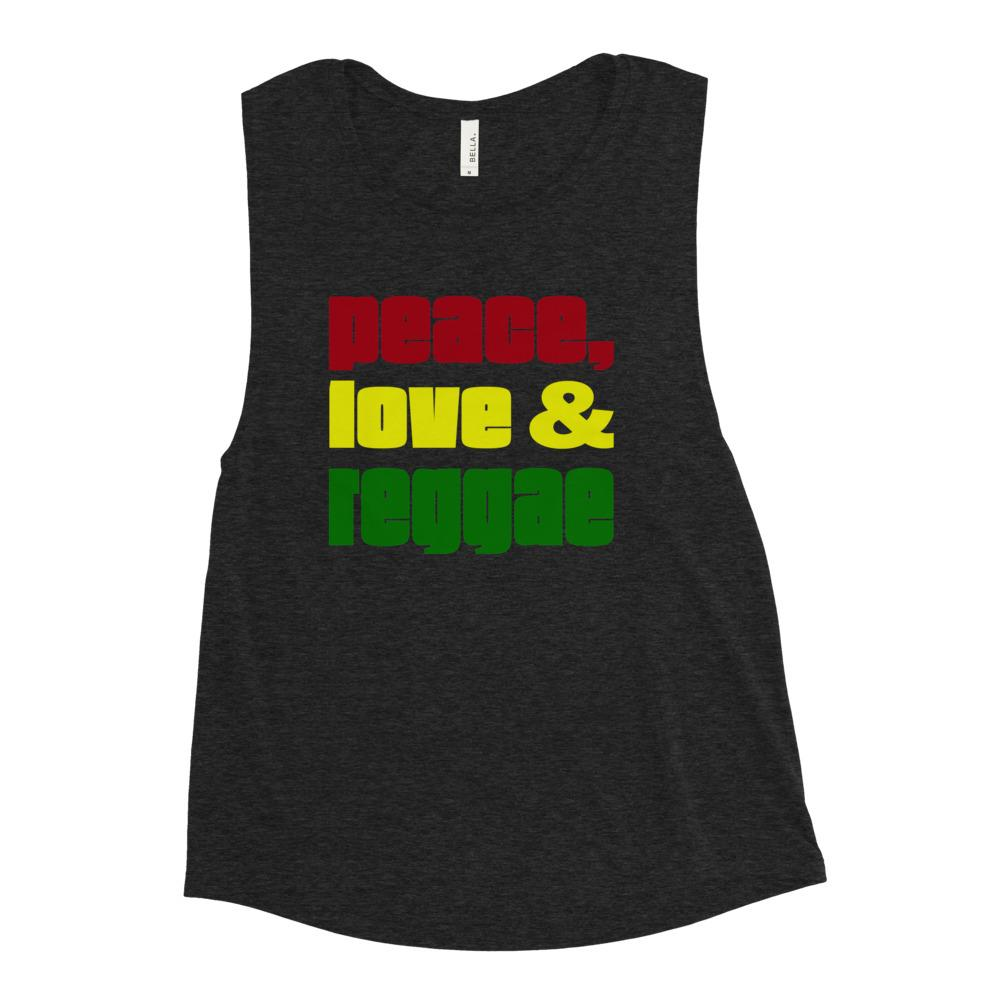 PEACE LOVE REGGAE | Women's Scoop Tank EAST OF ALTA Black Heather S