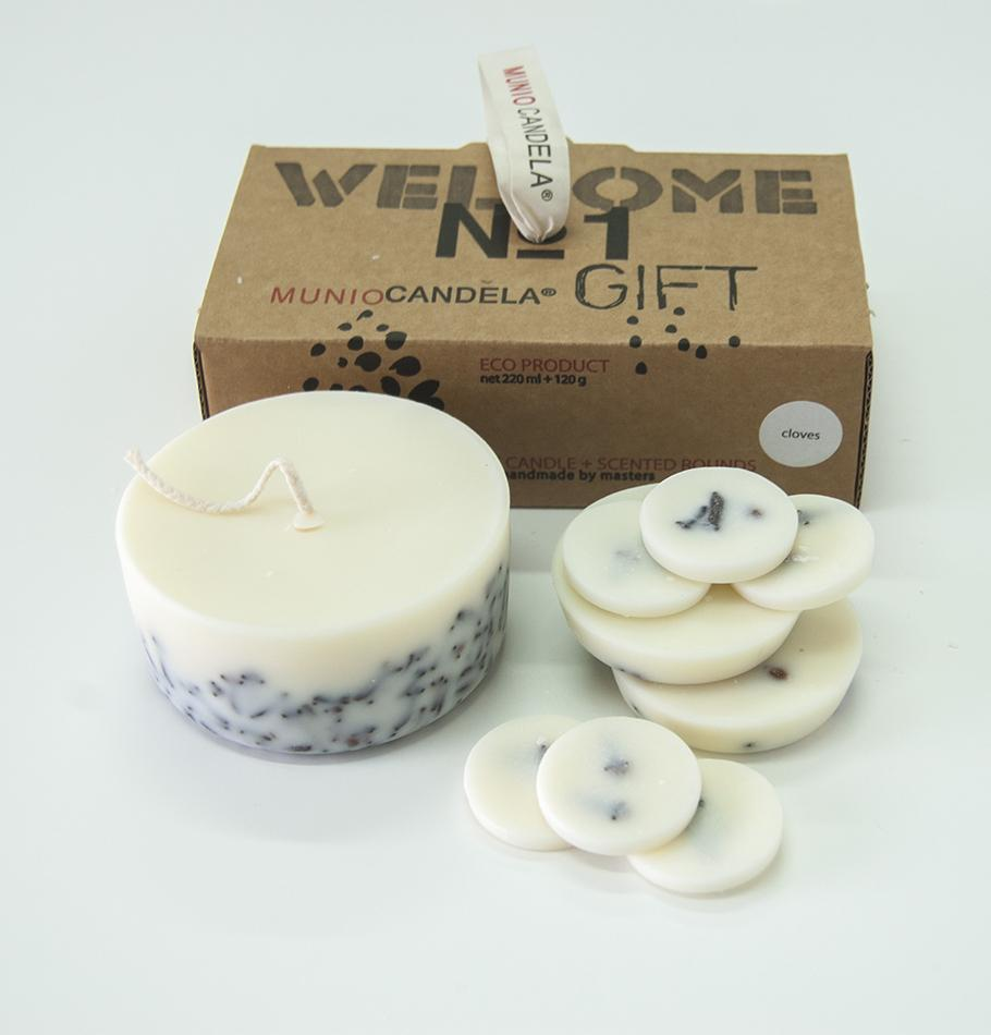 "Cloves, Gift Box: Scented Soy Wax Candle + Scented Soy Wax Rounds ""5 SENSES"""