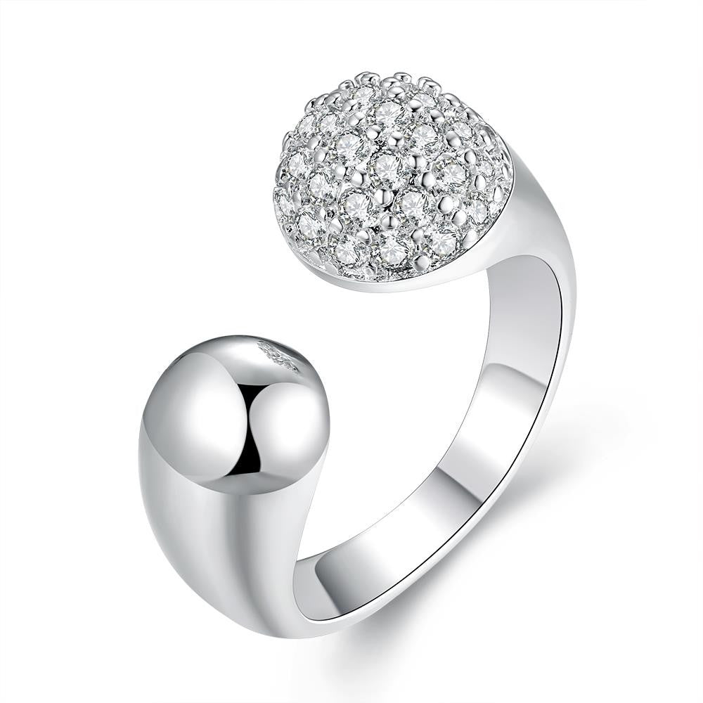 Pave in Swarovski Crystals Adjustable Ring in White Gold