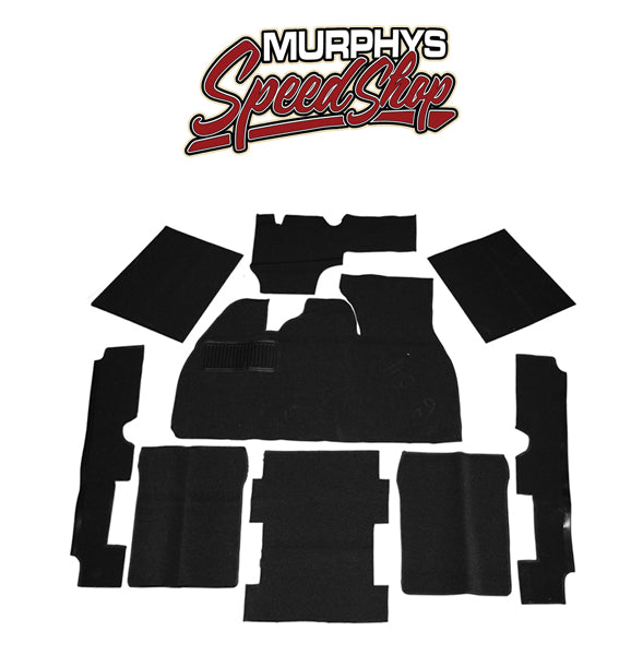 EMPI 3912 BLACK 9 PIECE CARPET KIT VW BUG / BEETLE 1973-1977, WITH FOOT REST