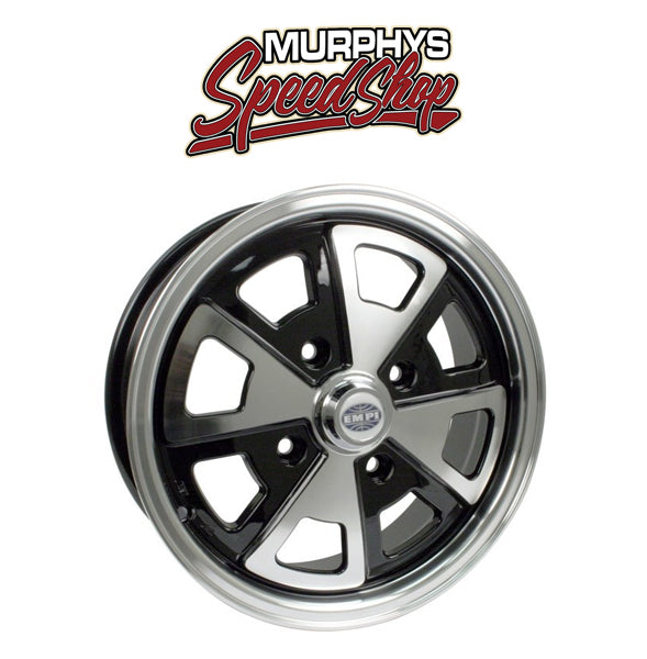 "EMPI 9681 15"" X 5-1/2"" PORSCHE 4 LUG EMPI 914 ALLOY WHEEL INCLUDES CAP-VALVE STEM"