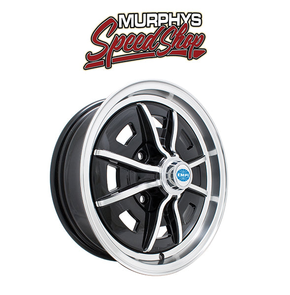 "EMPI 9688 15"" X 5"" VW BUG 4 LUG BLACK EMPI SPRINT STAR WHEEL INCLUDES CAP-VALVE STEM"