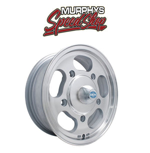 "EMPI 9747 15"" X 5-1/2"" VW BUG 5 LUG MACHINE FINISH EMPI DISH WHEEL INCLUDES CAP-VALVE STEM"