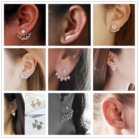 Crystal Flower drop Earrings For Women fashion Jewelry Double Sided Gold Silver earrings