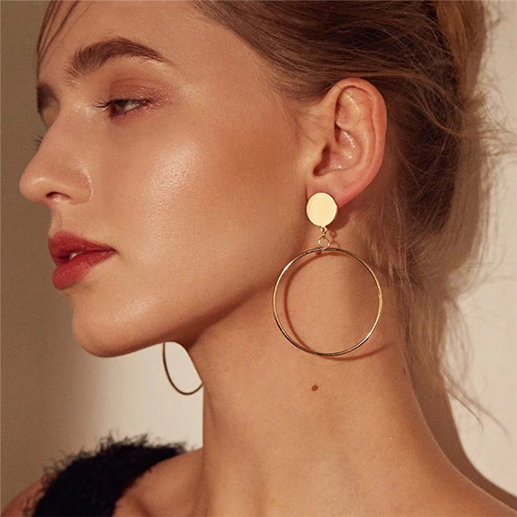 Simple fashion gold color Silver plated geometric big round earrings for women fashion big hollow drop earrings jewelry - Free Shipping est.25 days Delivery