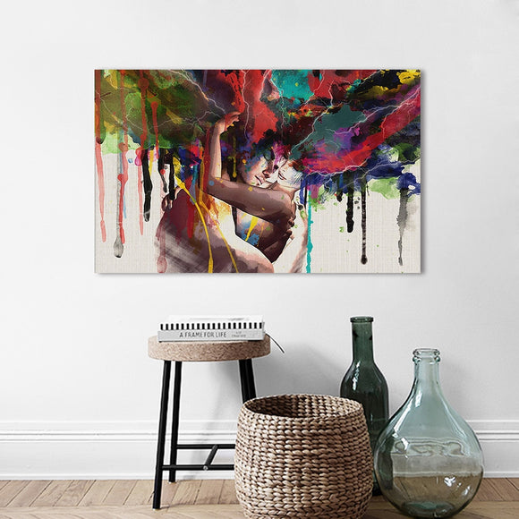 Wall Art Picture Canvas Painting Wall Pictures The Lovers Hug Portrait Poster Print For Living Room Home Decor No Frame