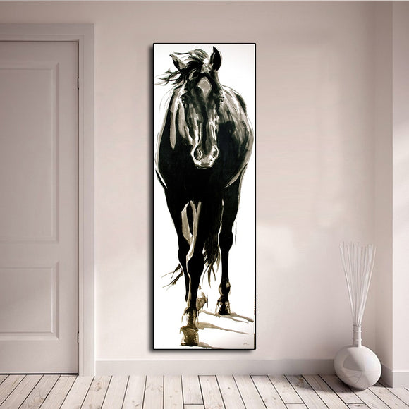 Wall Art Canvas Picture Animal Painting Black and White Horse for Living Room Home Decor No Frame